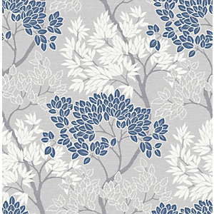 Fresco Lykke Tree Navy Wallpaper 10m