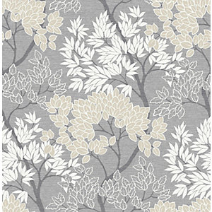 Fresco Lykke Tree Charcoal Wallpaper 10m