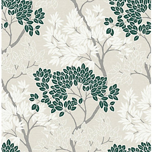 Fresco Lykke Tree Dark Green Wallpaper 10m