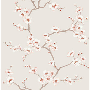 Fresco Apple Blossom Burnt Orange WALLPAPER10m