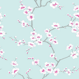Fresco Apple Blossom Blue Wallpaper 10m