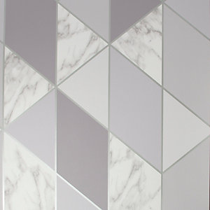 Sublime Marble Geometric Grey Wallpaper 10m