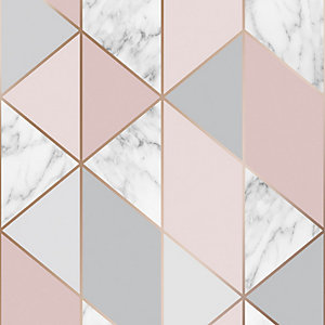 Sublime Marble Geometric Pink Wallpaper 10m