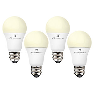 4lite WiZ Connected LED SMART E27 Light Bulb White 4 Pack