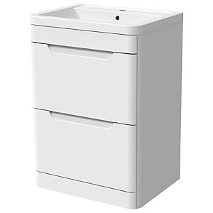 Wickes Malmo Gloss White Freestanding J Pull Vanity Unit