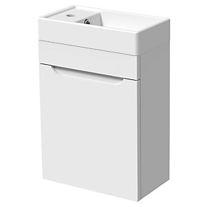 Wickes Malmo Gloss White J Pull Wall Hung Vanity Unit - 400 x 500mm