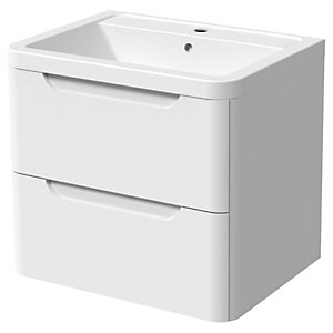 Wickes Malmo Gloss White Wall Hung J Pull Vanity Unit