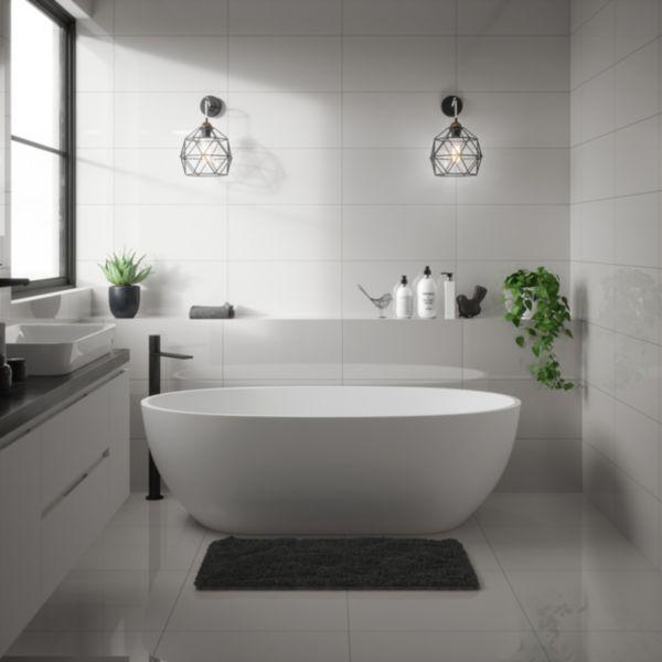 Wickes Seattle Cloud Glazed Porcelain Wall & Floor Tile - 600 x 600mm