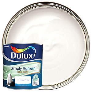 Dulux One Coat - Pure Brilliant White - Simply Refresh Matt Emulsion Paint 2.5L