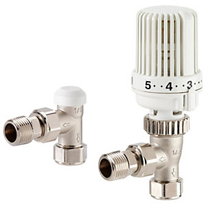 Honeywell VT15 Thermostatic Angled Radiator Valve with Lockshield Nickel Plated - 15mm