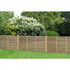 Image of Forest Garden Single Slatted Fence Panel 6 x 3ft 3 Pack
