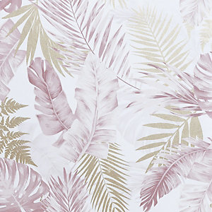 Artistick Blush Pink & Gold Tropical Leaves Self Adhesive Wallpaper - 6m x 53cm