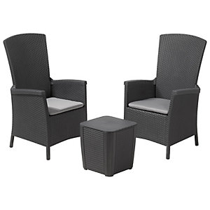 Keter Vermont Balcony 2 Seater Garden Set with Cushions - Black