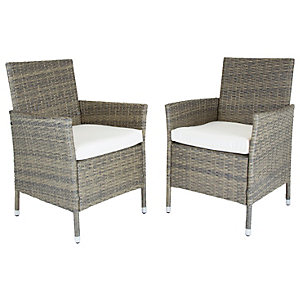 Charles Bentley Pair of Ratten Garden Dining Chairs - Natural