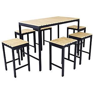 Charles Bentley 6 Seater Polywood & Extrusion Aluminium Bar Style Garden Dining Set