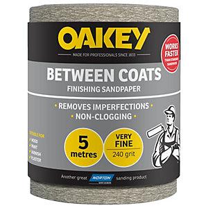 Oakey 240 Grit Between Coats Sandpaper Roll - 5m x 115mm