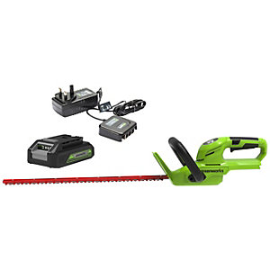 Greenworks 24V Hedge Trimmer with 2Ah Battery & Charger - 56cm / 22inch