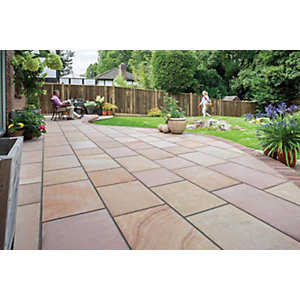 Marshalls Flamed Narias Textured Autumn Bronze Paving Slab Mixed Size - Sample