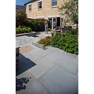 Marshalls Flamed Narias Textured Silver Birch Paving Slab Mixed Size - Sample