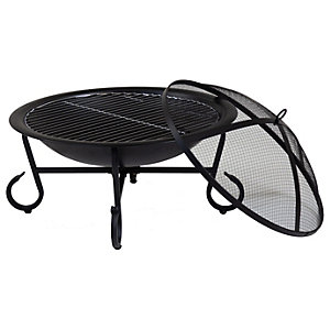 Charles Bentley 56cm Round Open Bowl Outdoor Fire Pit - Black