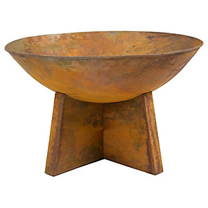 Charles Bentley 60cm Oxydised Outdoor Fire Pit - Rust Finish