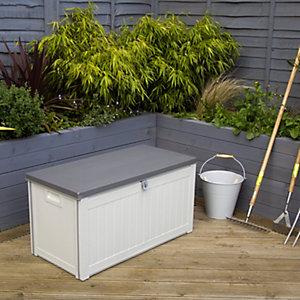 Charles Bentley 190L Outdoor Plastic Storage Box - Beige & Grey