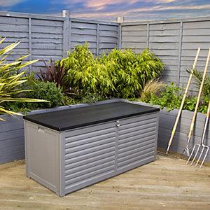 Charles Bentley 490L Large Outdoor Plastic Storage Box - Grey & Black