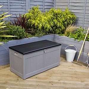 Charles Bentley 270L Outdoor Plastic Storage Box - Grey & Black