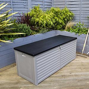 Charles Bentley 390L Large Outdoor Plastic Storage Box - Grey & Black