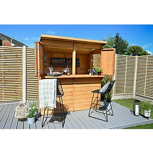 Forest Garden 2 x 1.8 x 2m Wooden Garden Bar/Shed with Bi-Fold Shutters