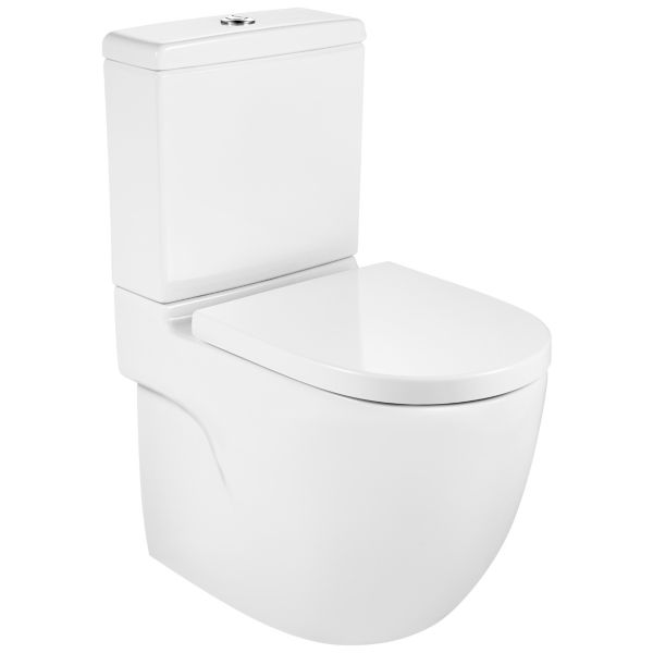 Meridian Easy Clean Close Coupled Fully Shrouded Compact Toilet Pan, Cistern & Soft Close Seat
