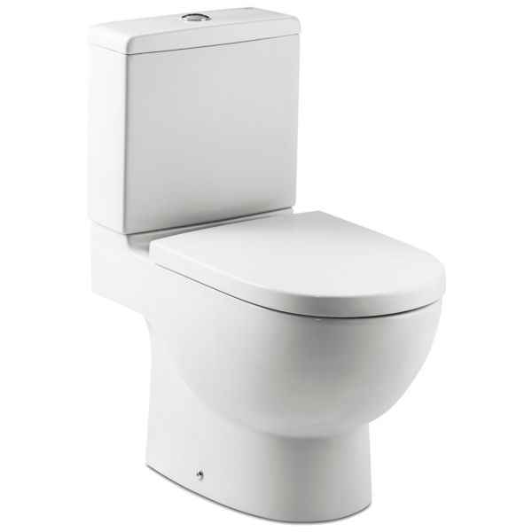Meridian Easy Clean Close Coupled Open Back Toilet Pan, Cistern & Soft Close Seat