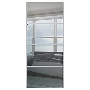 Spacepro Linear Silver Frame 4 Panel Sliding Wardrobe Door - Made to Measure 550-900mm