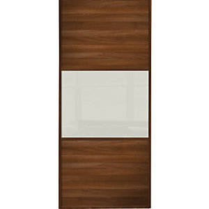 Spacepro Sliding Wardrobe Door Wideline Walnut Panel & Arctic White Glass