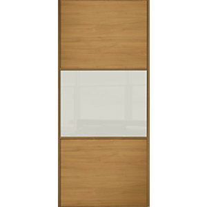 Spacepro Sliding Wardrobe Door Wideline Oak Panel & Arctic White Glass