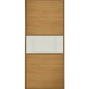 Spacepro Sliding Wardrobe Door Fineline Oak Panel & Arctic White Glass