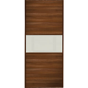 Spacepro Sliding Wardrobe Door Fineline Walnut Panel & Arctic White Glass