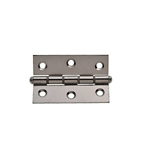 Wickes Double Steel Washered Butt Hinge - Polished Chrome 76mm Pack of 2