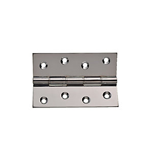 Wickes Double Steel Washered Butt Hinge - Polished Chrome 100mm Pack of 2