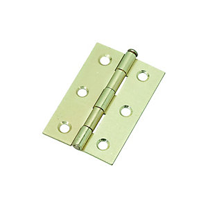 Wickes Loose Pin Butt Hinge - Brass 76mm Pack of 2