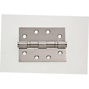 Wickes Grade 13 Ball Bearing Hinge - Satin 102mm Pack of 2