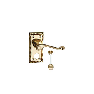 Wickes Cheshire Georgian Scroll Privacy Door Handle - Polished Brass 1 Pair