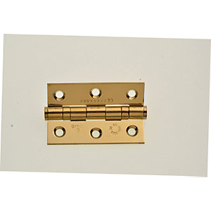 Wickes Grade 7 Fire Rated Ball Bearing Hinge - Brass 75mm Pack of 2
