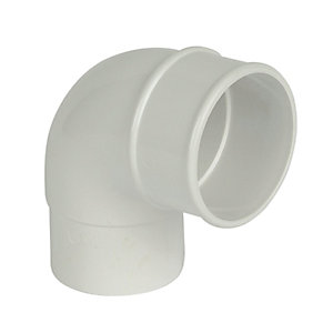 FloPlast 68mm Round Line Downpipe Offset Bend 92.5 - White