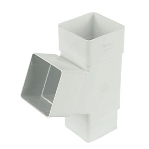 Image of FloPlast 65mm Square Line Downpipe 67.5° Branch - White