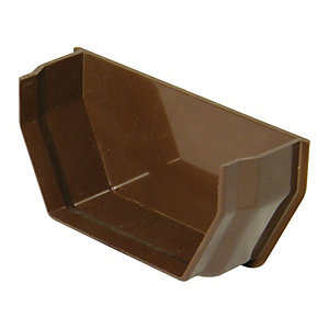FloPlast 114mm Square Line Gutter Internal Stop End - Brown