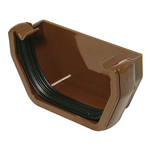FloPlast 114mm Square Line Gutter External Stop End - Brown