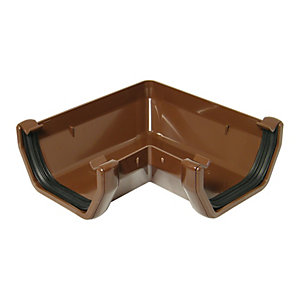 FloPlast 114mm Square Line Gutter Angle 90 - Brown