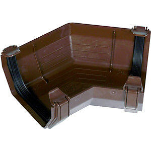FloPlast 114mm Square Line Gutter Angle 135 - Brown