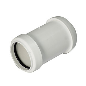 FloPlast WP08W Push-Fit Waste Straight Coupler - White 40mm